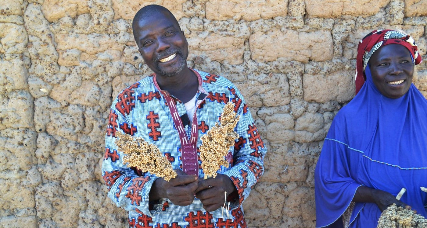 Fousseyni Mariko and his wife's Diala Sangaré choose to grow sorghum and millets on their farm in Mali. Photo: A Diama, ICRISAT