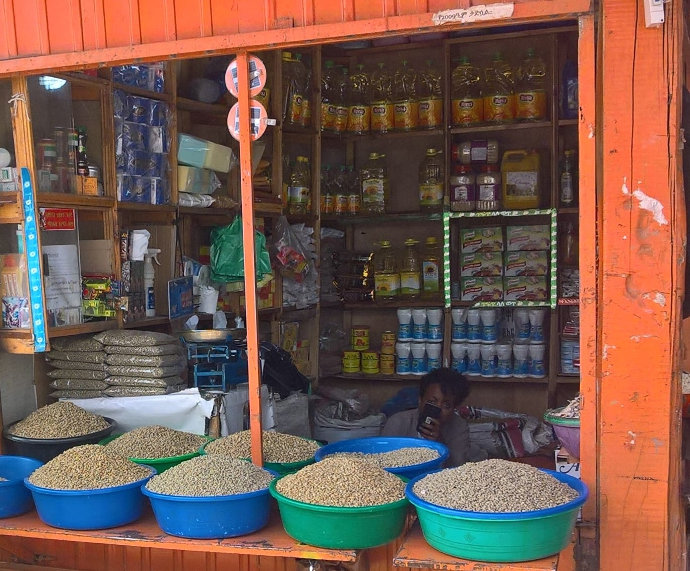 Pulses on sale alongside other food items in a local market in Addis Ababa, Ethiopia (photo credit: ILRI/Geraldine Klarenberg)