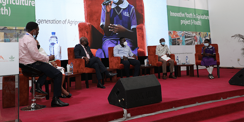 Opadotun Oluwadamilare relaying her experience with STEP during the panel discussion at I-Youth Conference in Lagos.