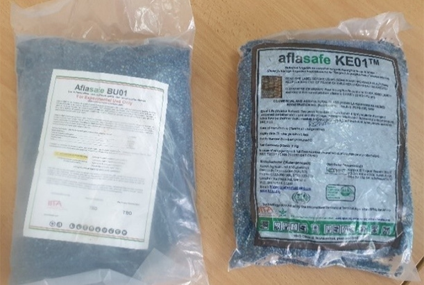 Picture of packaged brands of Aflasafe BU01 and KE01.