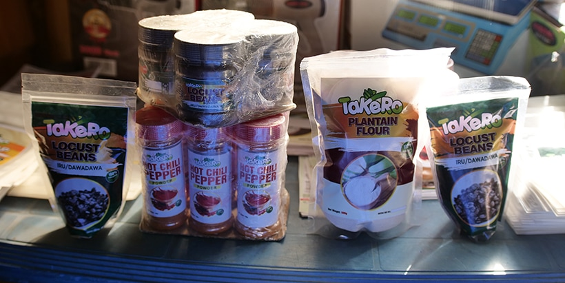 Some TAKERO products, including yam flour, cassava flour, mixed pap, etc.