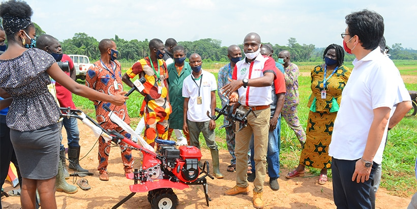 Small tiller demonstration by staff of Honda Manufacturing Nigeria.