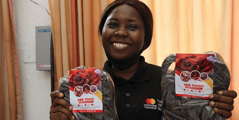 Oluwaseun Evelyn Areo displaying her product.