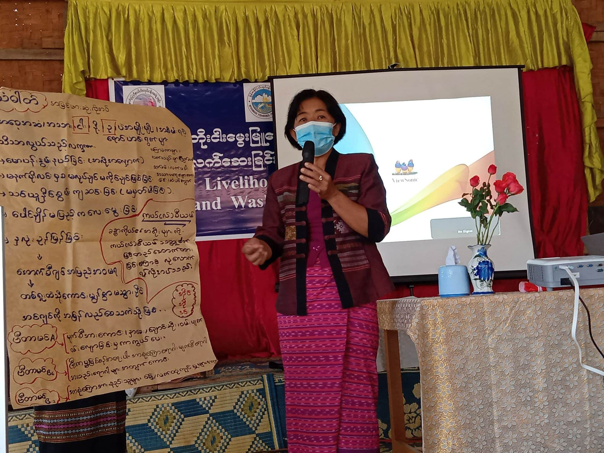 Daw Khin Soe Win, the Group Leader of Early Childhood Care and Development, speaks on the nutritional benefits of small fish.