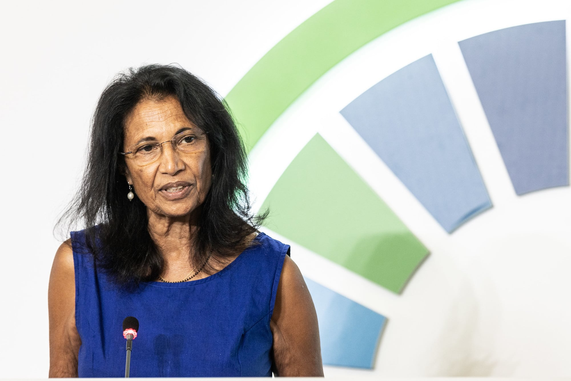 Shakuntala Thilsted presenting her speech on aquatic foods for health, wealth and ecological recovery at the UN Food Systems Pre-Summit event. Photo by Cristiano Minichiello/UN Photo.