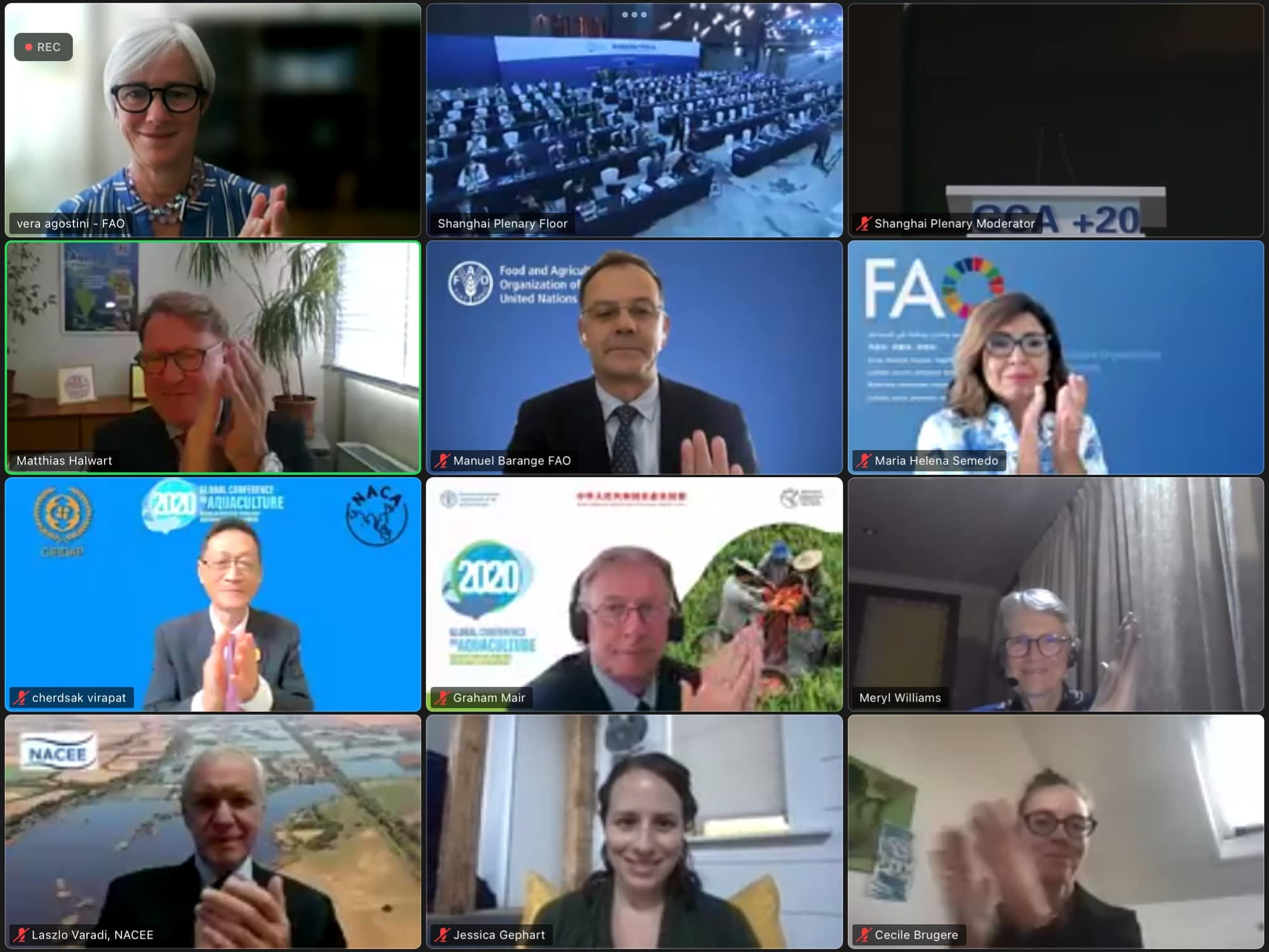 The Shanghai Declaration is adopted by acclamation. Photo is screenshot of virtual Zoom proceedings