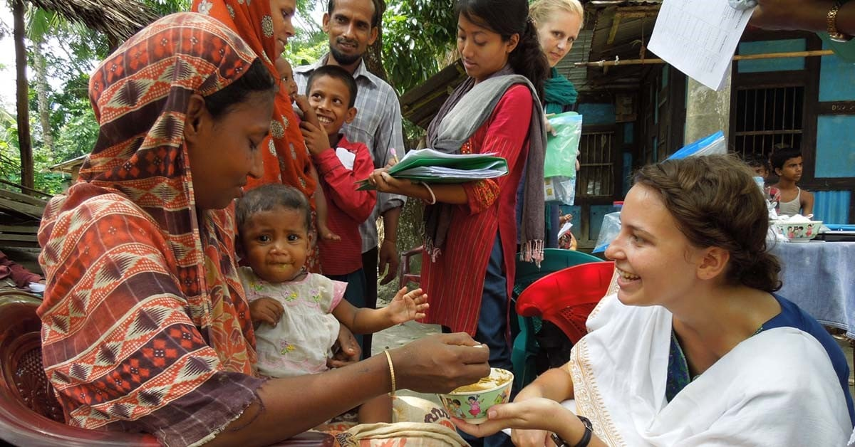 Jessica Bogard, PhD, works with rural communities in Bangladesh to test fish-based food products.