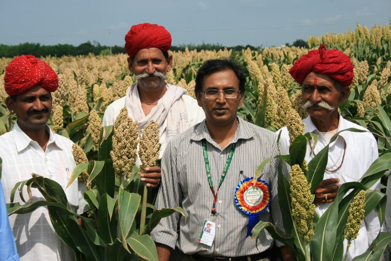 Empowering farmers in seed production of improved varieties at Patancheru, India. Photo: ICRISAT