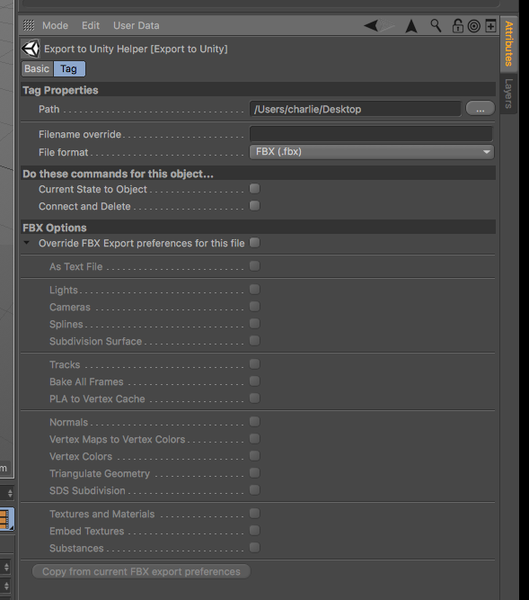plug-in for exporting from Maxon Cinema 4D into Unity – charlie