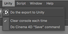 The Unity menu added to the main Cinema 4D menu bar