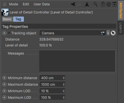 Level of Detail Controller tag parameters