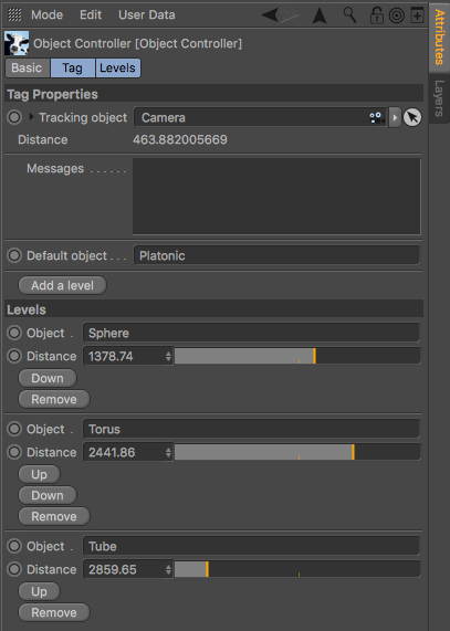 Object Controller tag properties panel