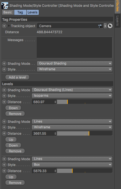 Shading Mode/Style Controller tag parameters