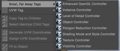 The tags which are added to the Cinema 4D Object manager's tags menu
