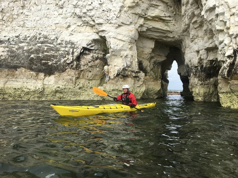 Paddling through one of the arches