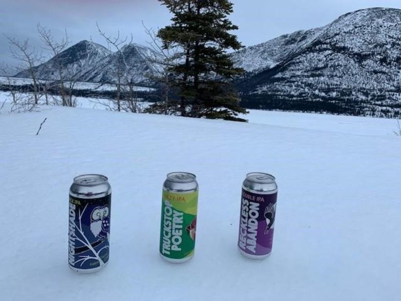 A couple Winterlong beer in Kusawa Territorial Park