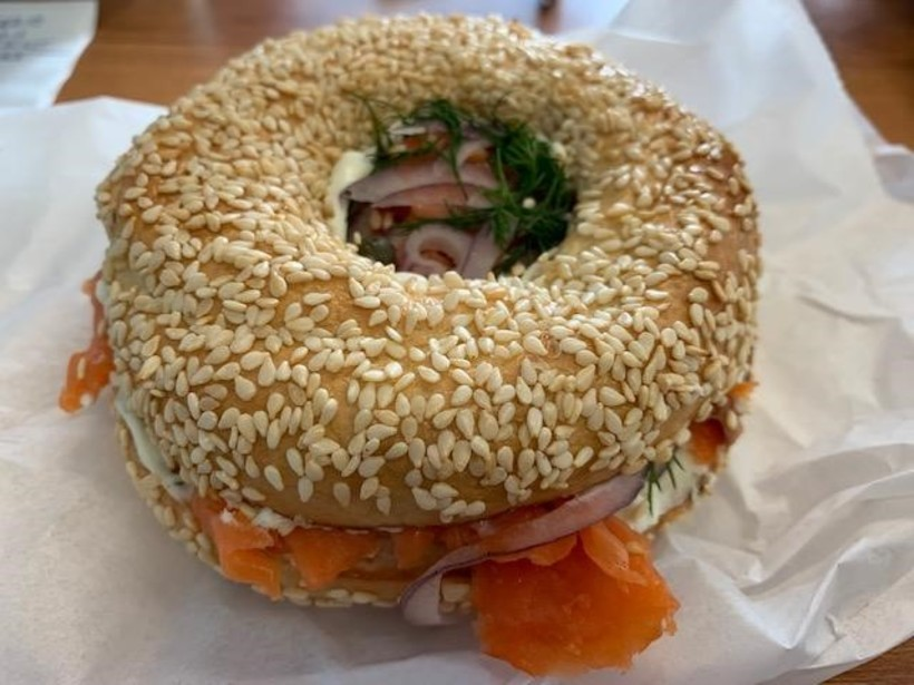 My delicious Bullet Hole Bagels lunch- smoked salmon on sesame bagel