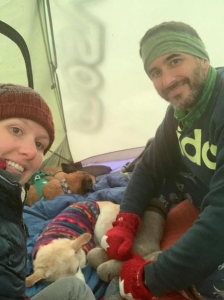 Two adults, two dogs and our gear in a three person tent. Good thing Penny shares my sleeping bag with me!