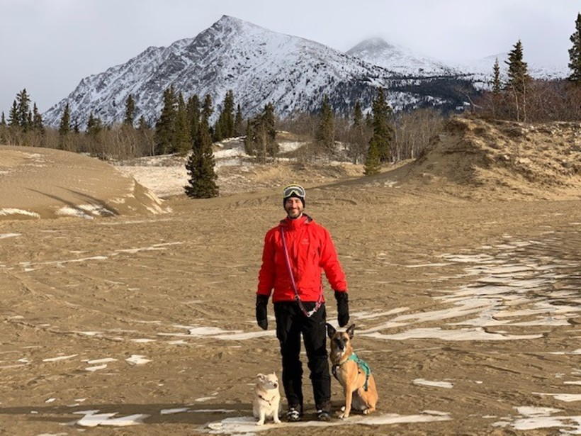 Adam with Penny and Amy at the Carcross Desert in November 2020.