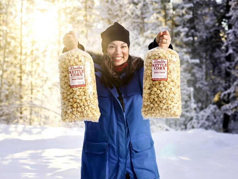 Katie holding some delicious Klondike Kettle Corn