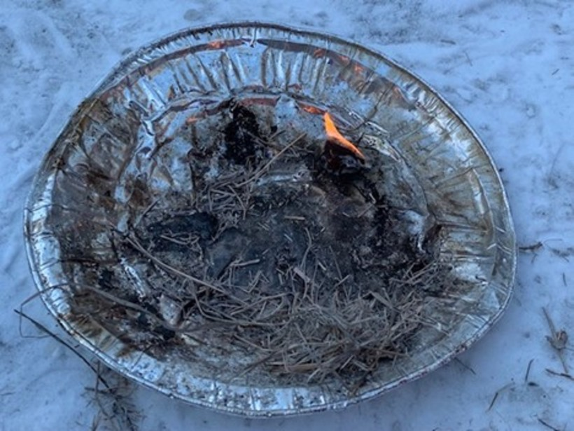 My first fire using a ferrocerium rod and a cotton ball with Vaseline