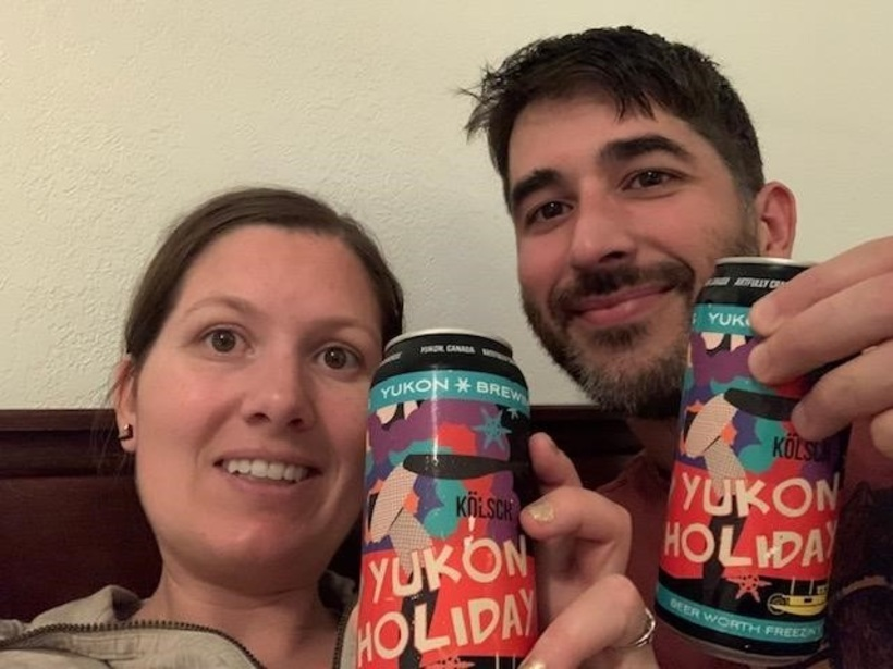 """On our first trip to Dawson City, so we are enjoying Yukon Brewery's """"Yuokon Holiday"""" in our hotel before we hit the town"""