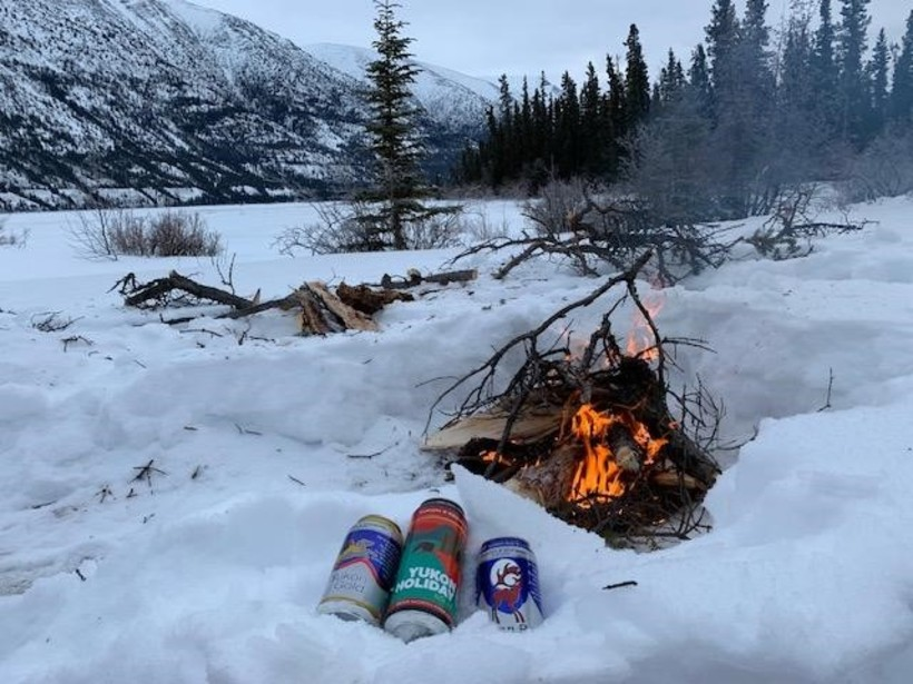 Some Yukon Brewery beer at our campfire in Kusawa Territorial Park