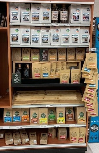 Local coffee display at Wykes Your Independent Grocer