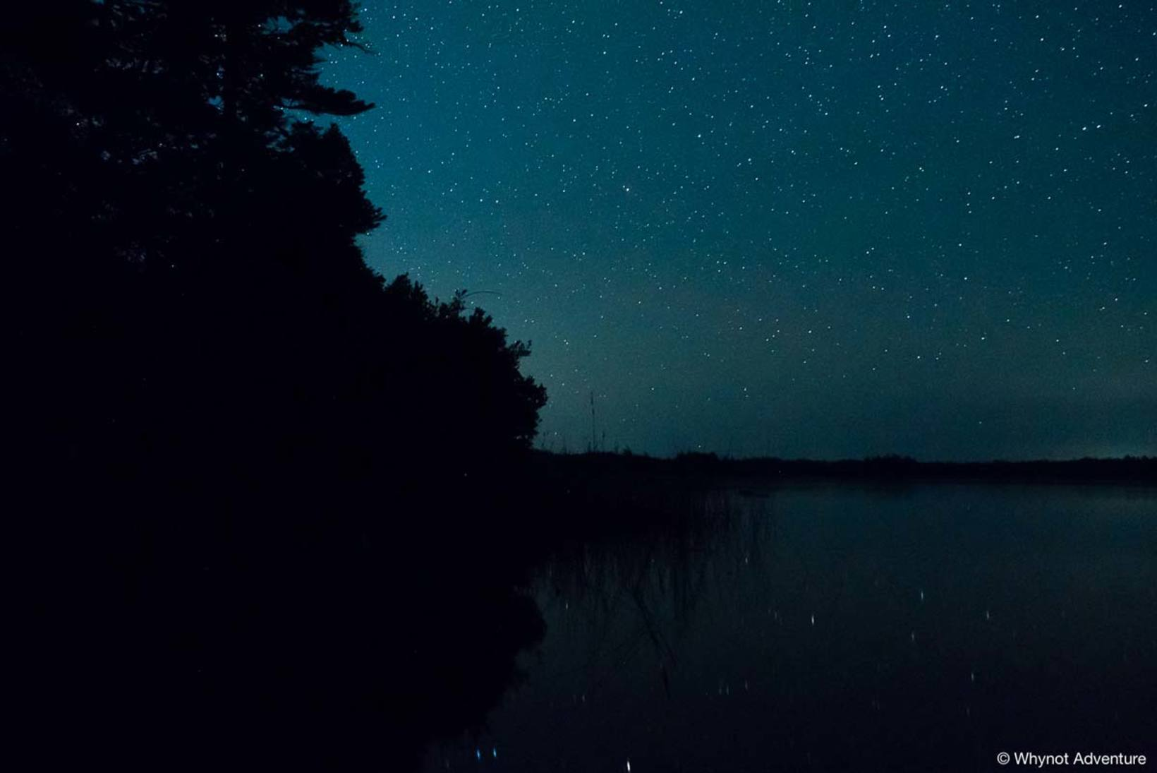 Night sky over Cobrielle Lake