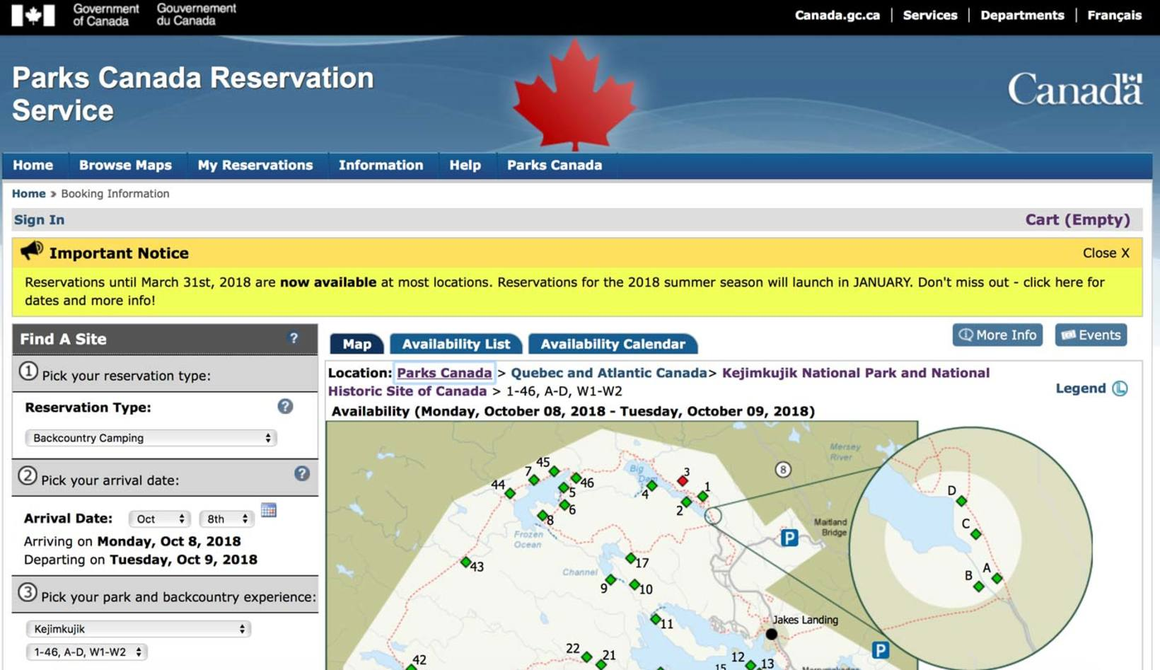 Parks Canada Backcountry Site Reservations