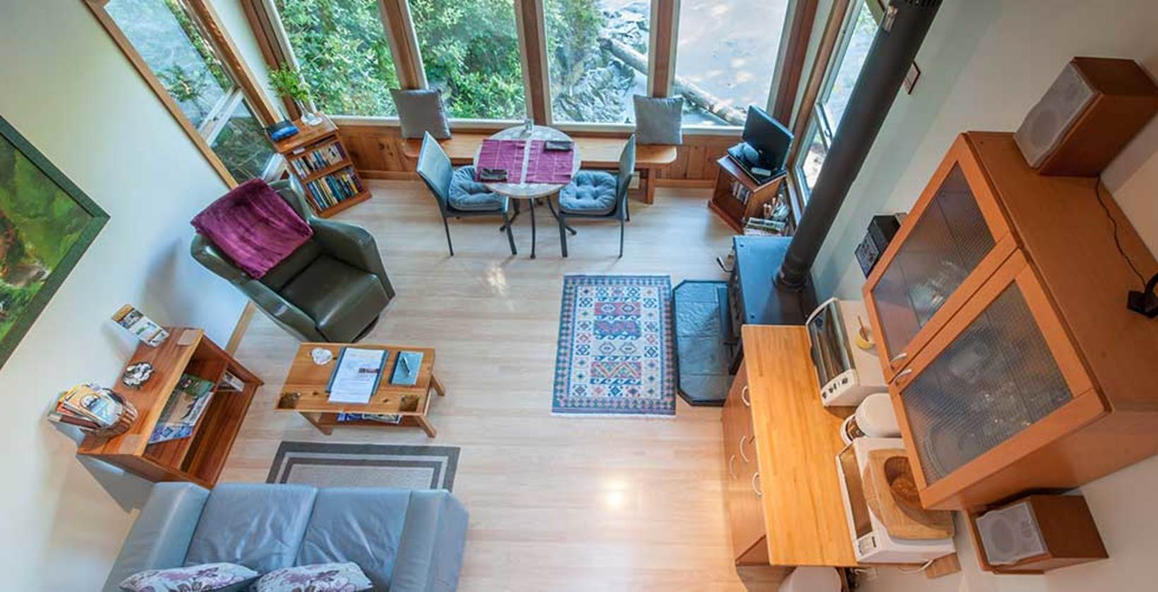 Open concept living area and loft