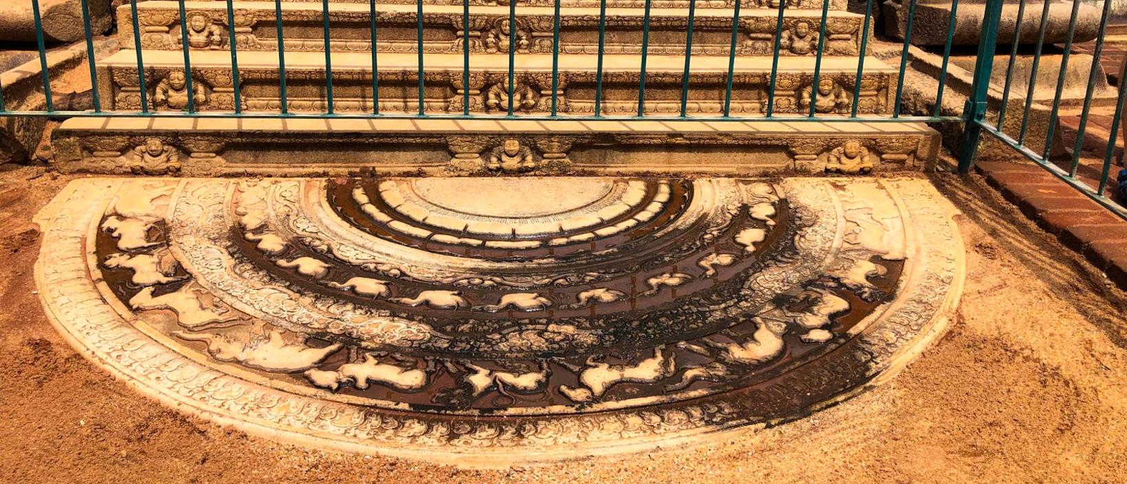 Moonstones and guard stones. Anuradhapura