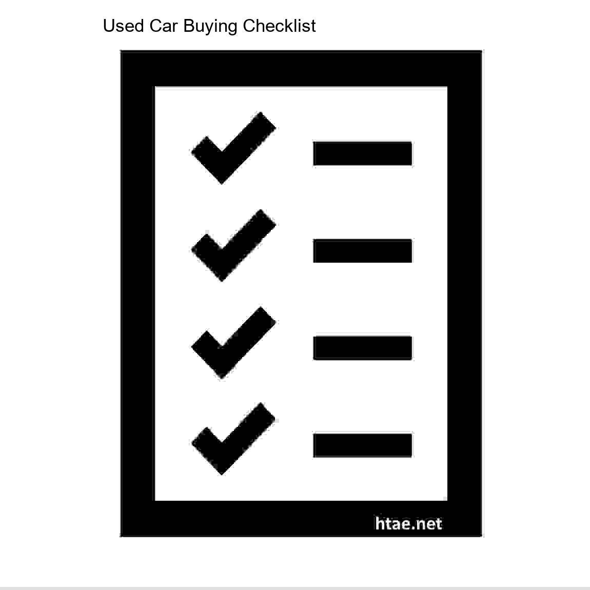 Used Car Buying Checklist General To Do Checklist