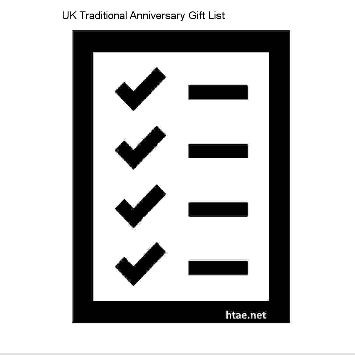 Uk Traditional Anniversary Gift List List