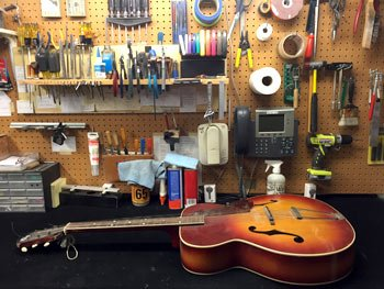 Chesbro Music's Repair Shop - Repair in Progress