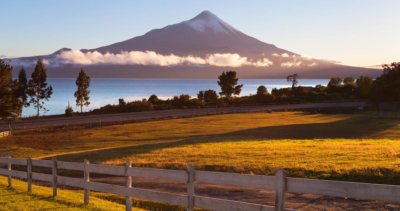 Imagen panorámica del volcán Osorno donde destacan hectáreas de pasto en un colorido amanecer