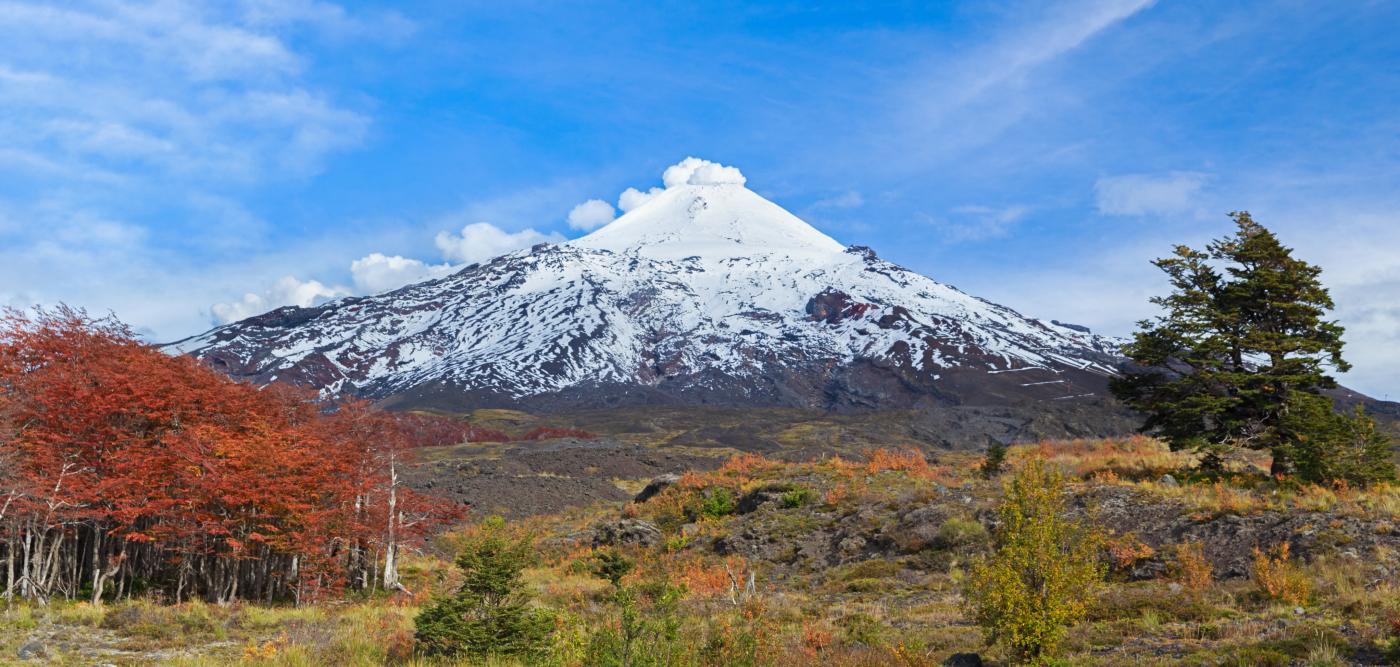 Imagen panorámica del Parque Nacional Villarrica donde se aprecia la majestuosidad del volcán Villarrica