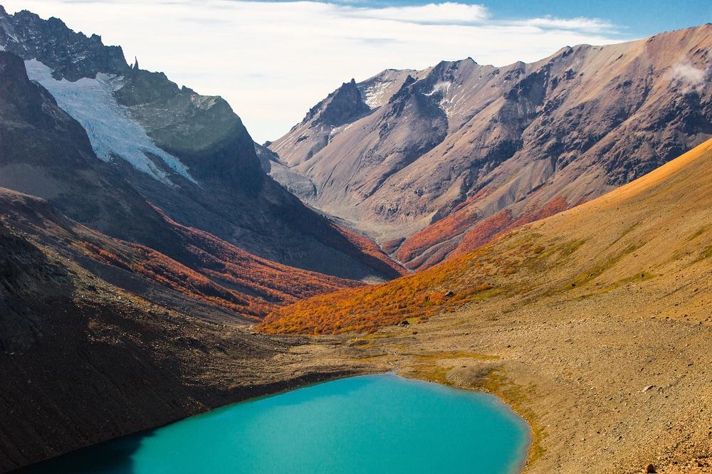 formano lagune d'acqua di colore turchese parco nazionale Cerro Castillo