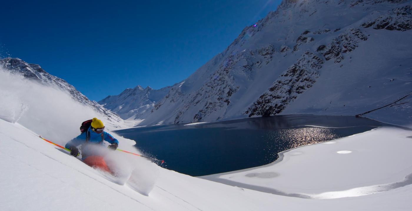 Imagen de la Laguna del Inca en el centro de ski Portillo