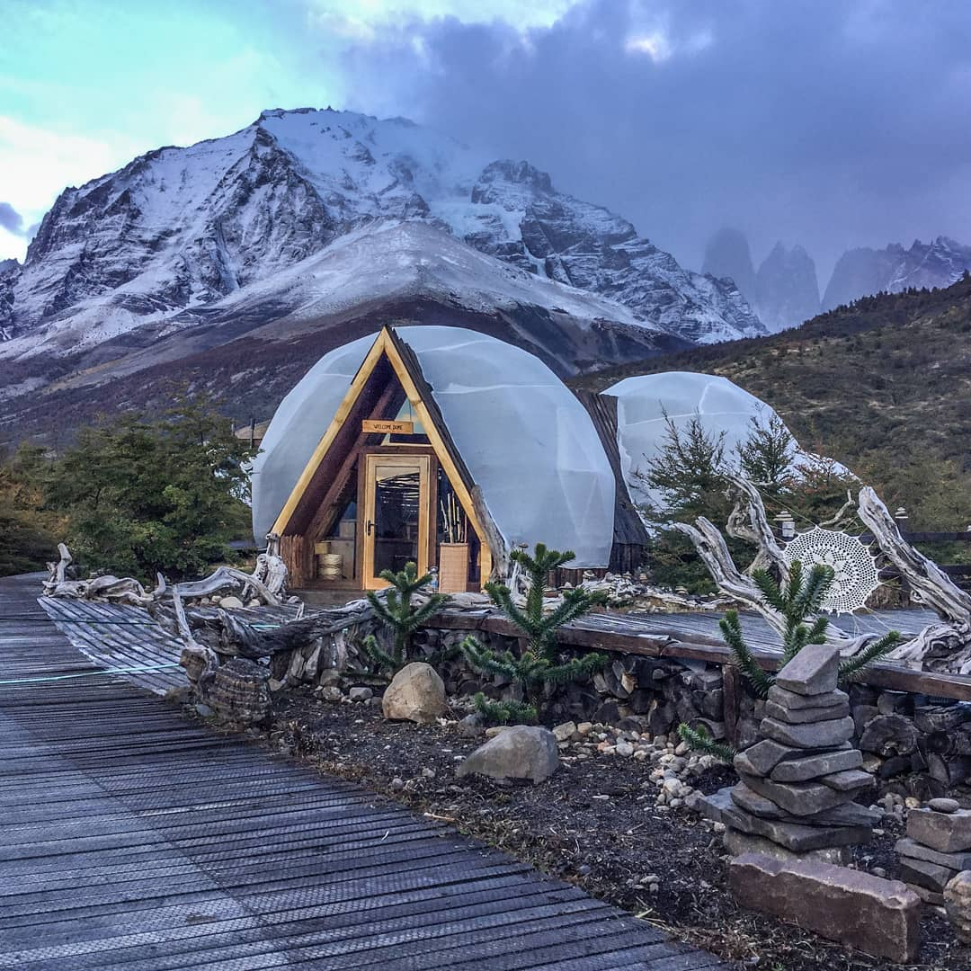 Ecocamp domes on a cold day in Torres del Paine.