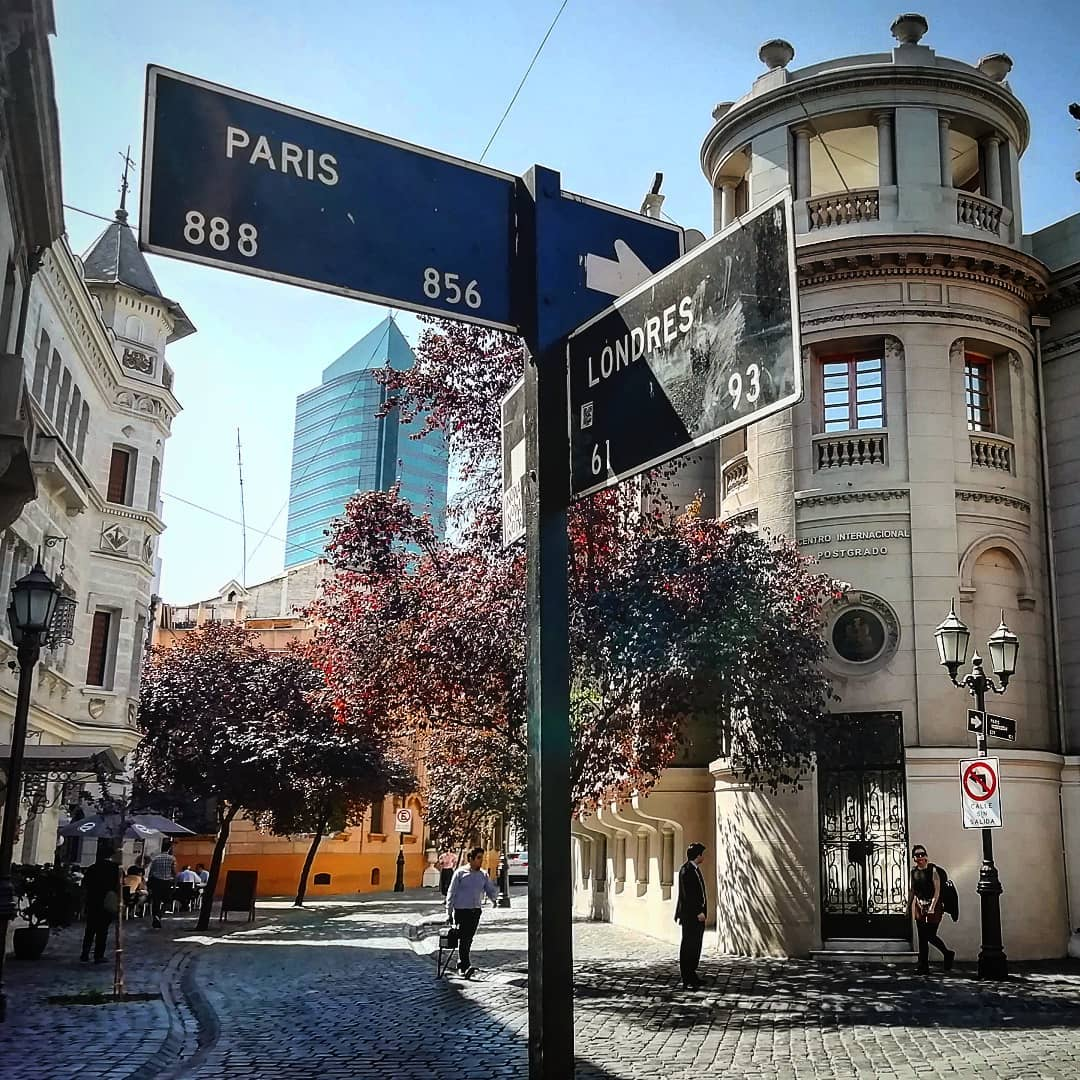París and Londres intersection, Santiago Heritage Route
