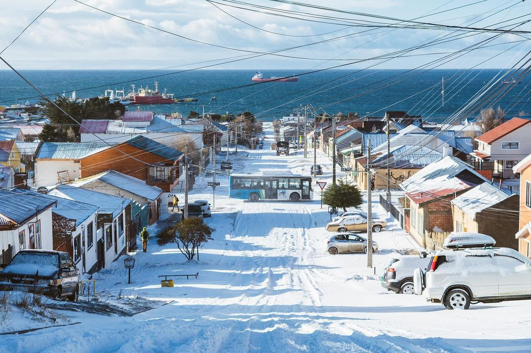 Streets covered in snow Punta Arenas