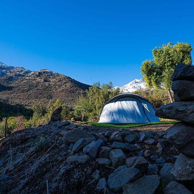 Tent in Refugio Agua Dulce, San Francisco de Los Andes, Chile.