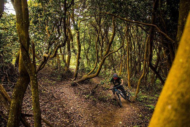 Joven practicando mountain bike en el Cerro Manquehue