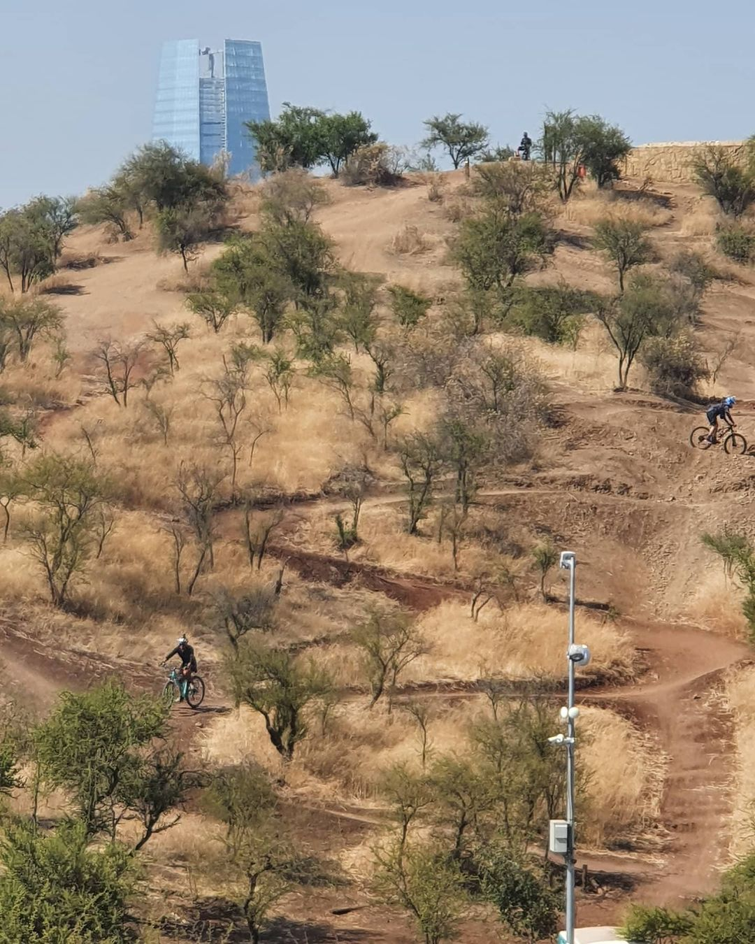 Bikers riding the off road trail in Parque Metropolitano