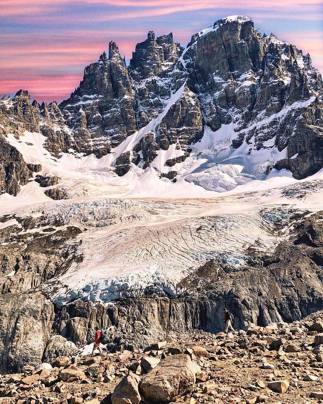 People trekking at the feet of Cerro Castillo