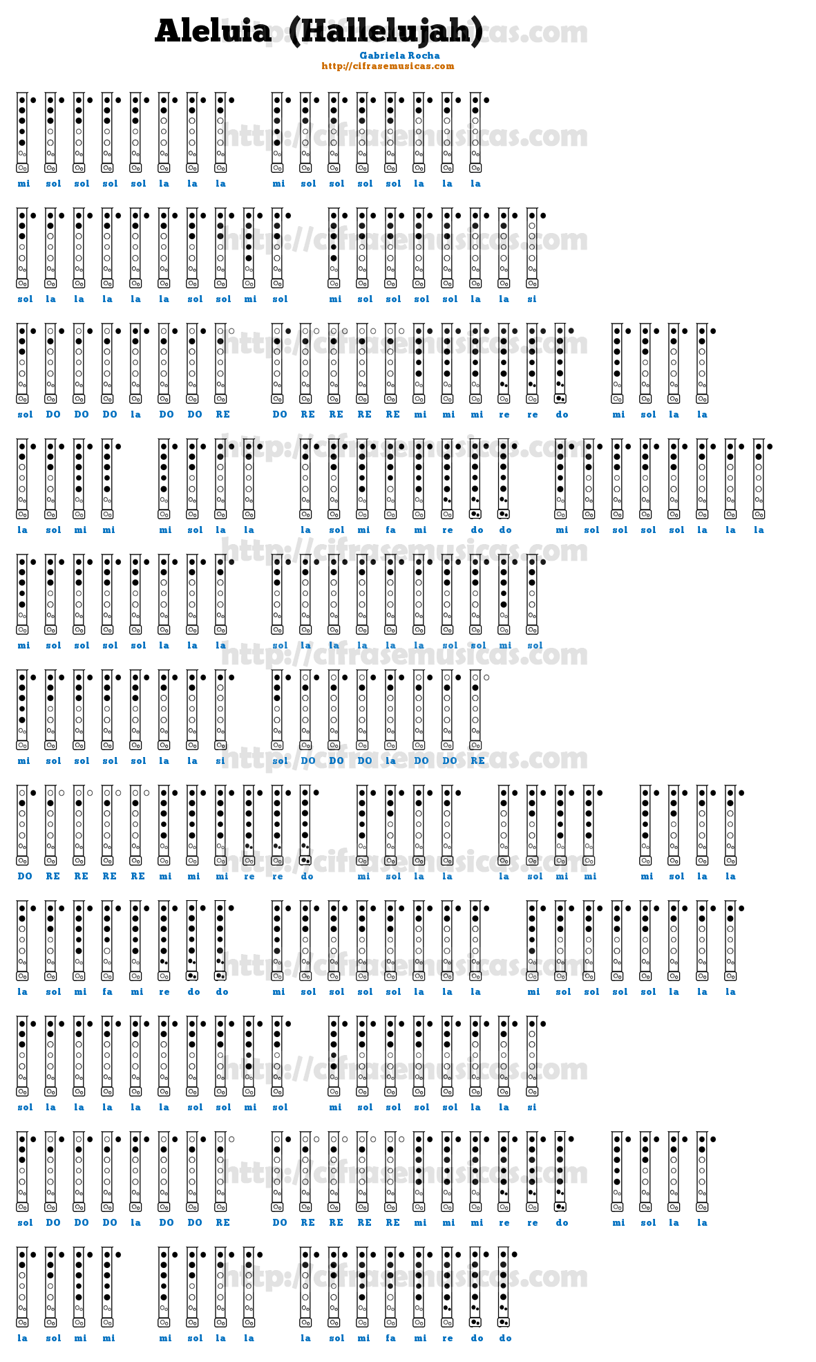 Conhecido Cifra Aleluia (Hallelujah) - Gabriela Rocha para Flauta Doce  UD02