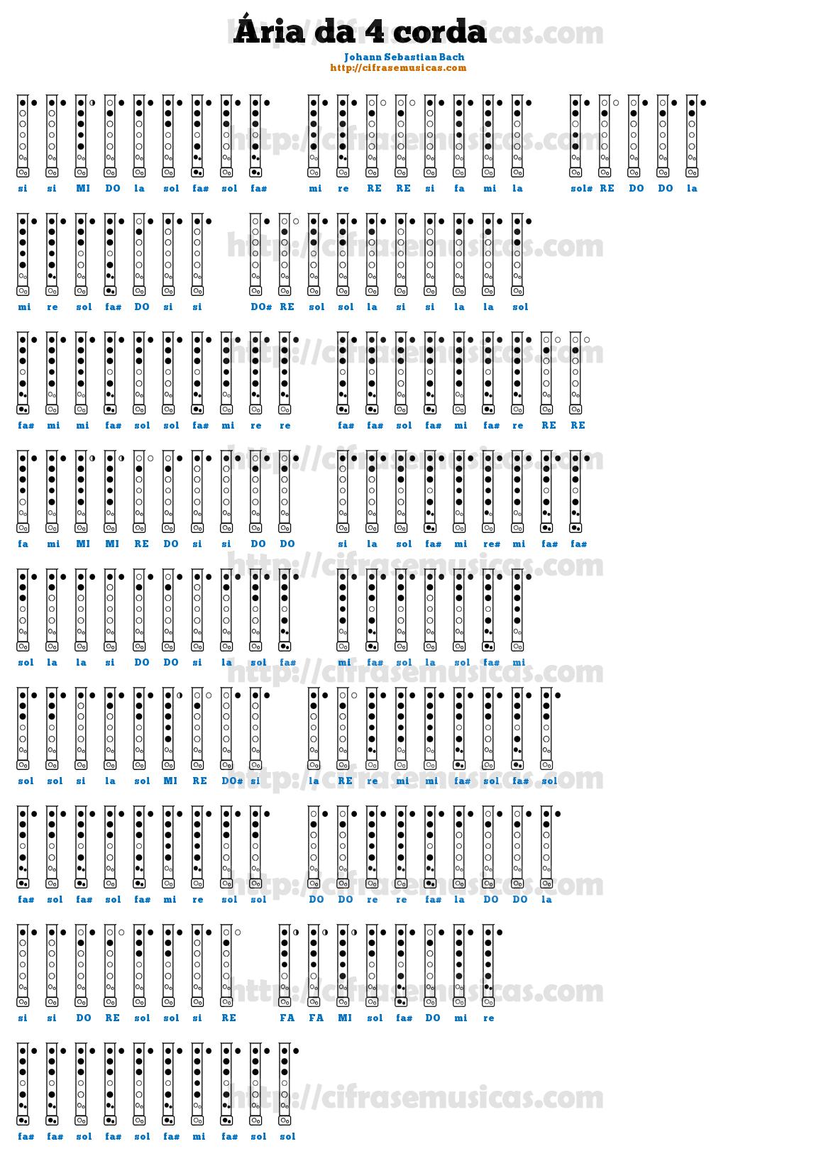 Cifra Ária da 4 corda - Johann Sebastian Bach para Flauta Doce