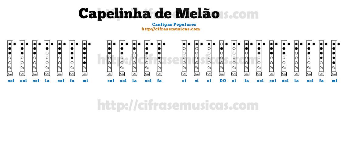 Cifra Capelinha de Melão - Cantigas Populares para Flauta Doce