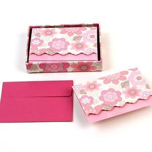 Pink thank you notecards